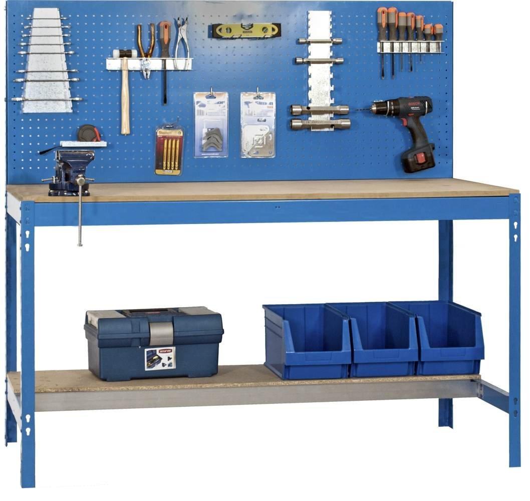 Werkbank BT-2 900 Blau / Holz, Maße: 144 x 90 x 60 cm mit Lochwand ...
