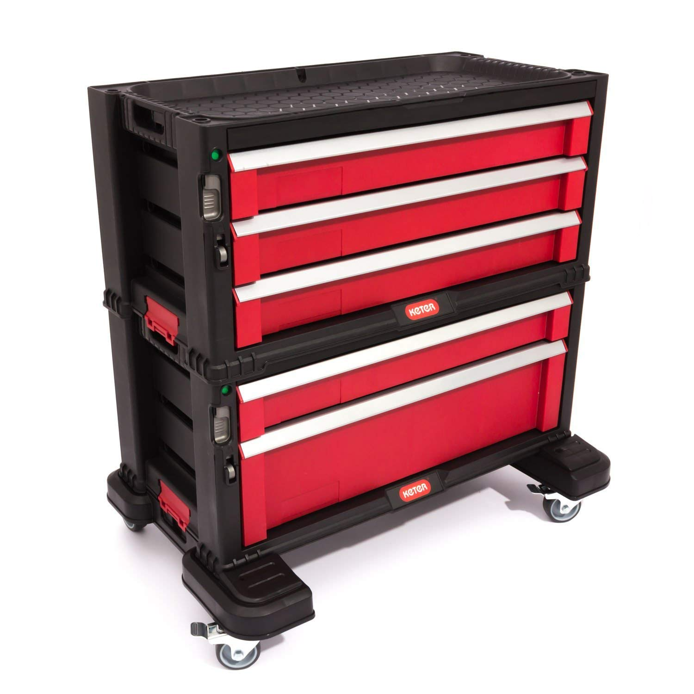 Keter 5 Drawer Tool Chest Set Acetal Slides, 1 Stück, schwarz / rot / silber, 17199301