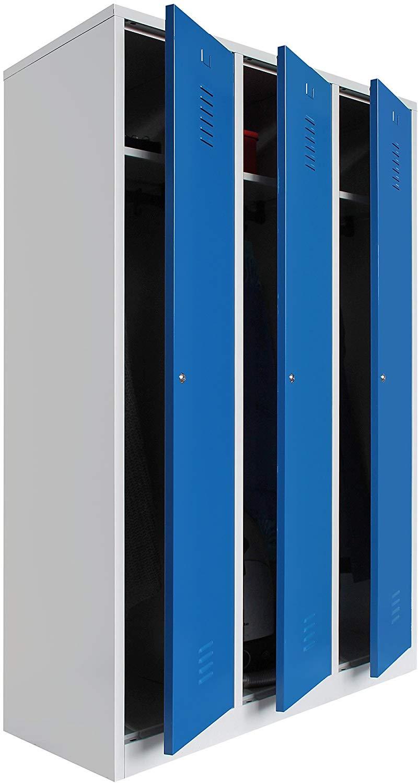 Spind 3 Abteile 180 x 88,5 x 50 grau / blau – KOMPLETT MONTIERT